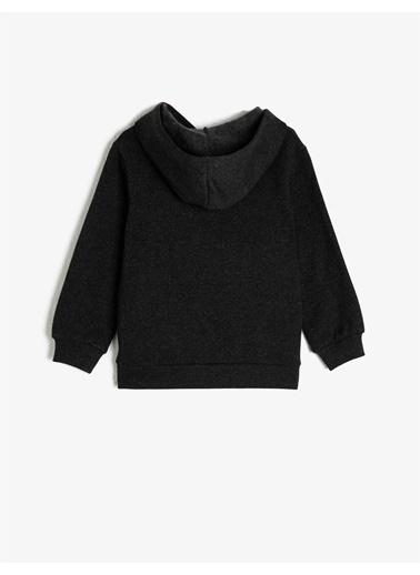 Koton Kapüsonlu Fermuarli Basic Sweatshirt Gri
